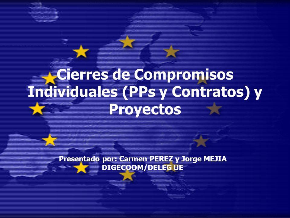 Cierres de Compromisos Individuales (PPs y Contratos) y Proyectos Presentado por: Carmen PEREZ y Jorge MEJIA DIGECOOM/DELEG UE