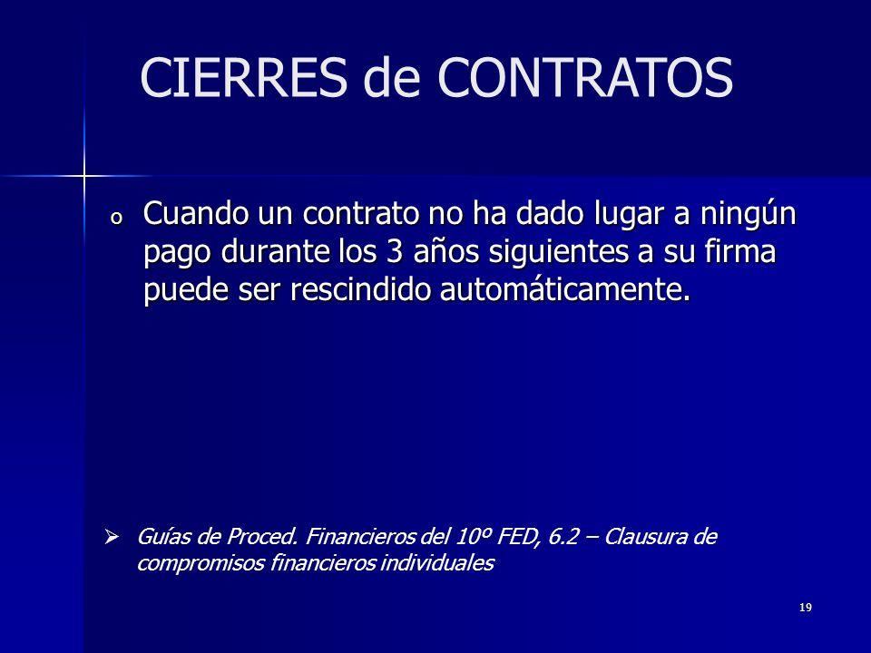 19 o Cuando un contrato no ha dado lugar a ningún pago durante los 3 años siguientes a su firma puede ser rescindido automáticamente.