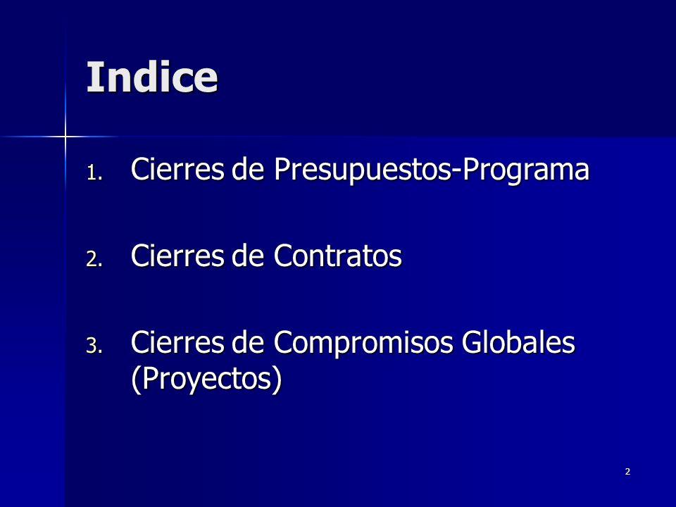 2 Indice 1. Cierres de Presupuestos-Programa 2. Cierres de Contratos 3.
