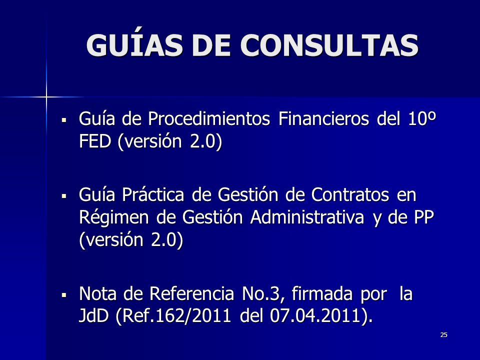 25 Guía de Procedimientos Financieros del 10º FED (versión 2.0) Guía de Procedimientos Financieros del 10º FED (versión 2.0) Guía Práctica de Gestión de Contratos en Régimen de Gestión Administrativa y de PP (versión 2.0) Guía Práctica de Gestión de Contratos en Régimen de Gestión Administrativa y de PP (versión 2.0) Nota de Referencia No.3, firmada por la JdD (Ref.162/2011 del 07.04.2011).