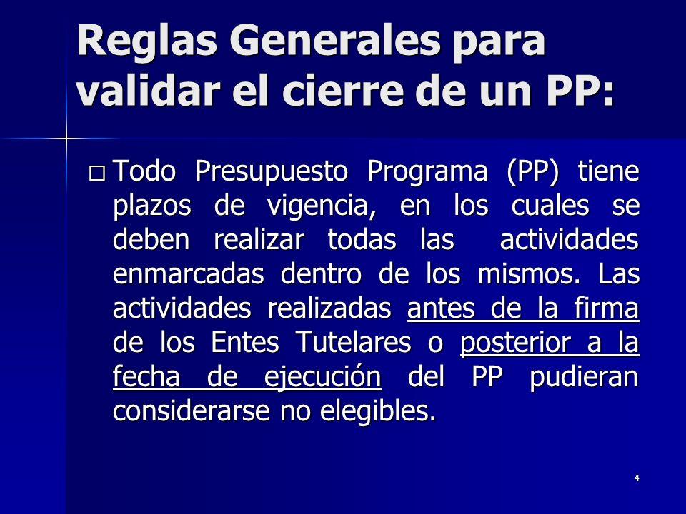4 Todo Presupuesto Programa (PP) tiene plazos de vigencia, en los cuales se deben realizar todas las actividades enmarcadas dentro de los mismos.