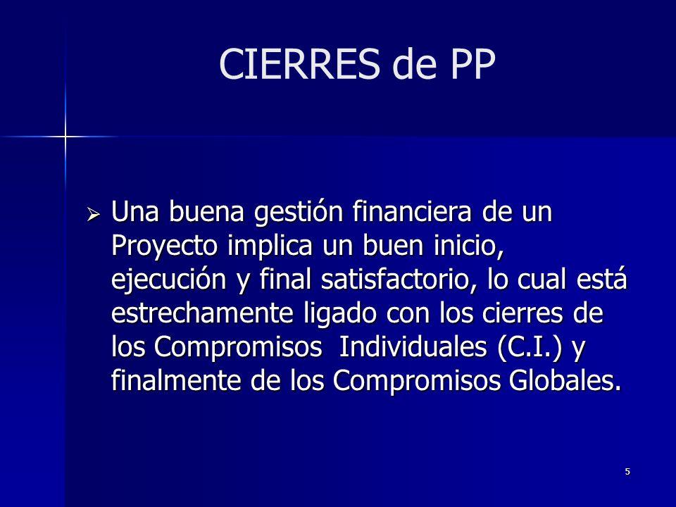 5 Una buena gestión financiera de un Proyecto implica un buen inicio, ejecución y final satisfactorio, lo cual está estrechamente ligado con los cierres de los Compromisos Individuales (C.I.) y finalmente de los Compromisos Globales.