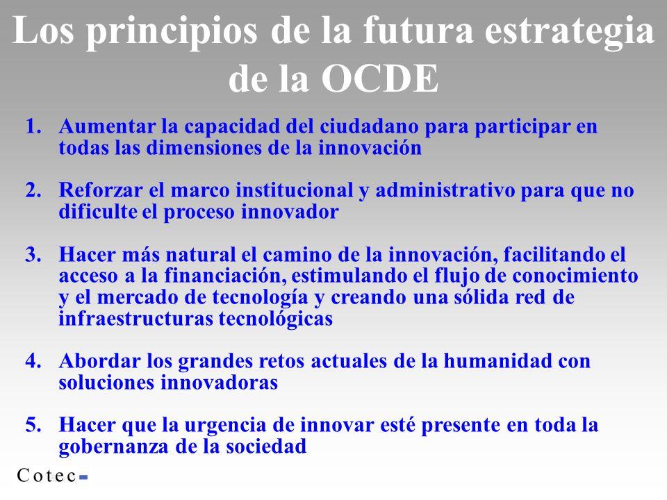 1.Aumentar la capacidad del ciudadano para participar en todas las dimensiones de la innovación 2.Reforzar el marco institucional y administrativo para que no dificulte el proceso innovador 3.Hacer más natural el camino de la innovación, facilitando el acceso a la financiación, estimulando el flujo de conocimiento y el mercado de tecnología y creando una sólida red de infraestructuras tecnológicas 4.Abordar los grandes retos actuales de la humanidad con soluciones innovadoras 5.Hacer que la urgencia de innovar esté presente en toda la gobernanza de la sociedad Los principios de la futura estrategia de la OCDE