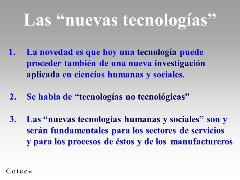 Las nuevas tecnologías 1.La novedad es que hoy una tecnología puede proceder también de una nueva investigación aplicada en ciencias humanas y sociales.