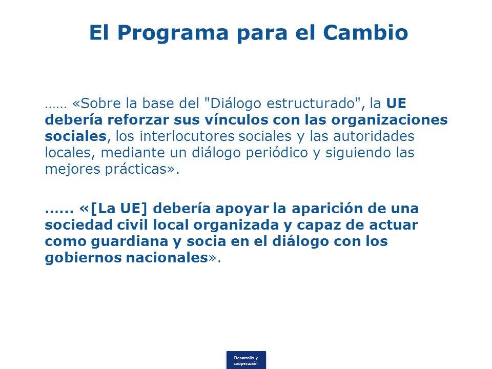 Desarrollo y cooperación El Programa para el Cambio …… «Sobre la base del Diálogo estructurado , la UE debería reforzar sus vínculos con las organizaciones sociales, los interlocutores sociales y las autoridades locales, mediante un diálogo periódico y siguiendo las mejores prácticas».