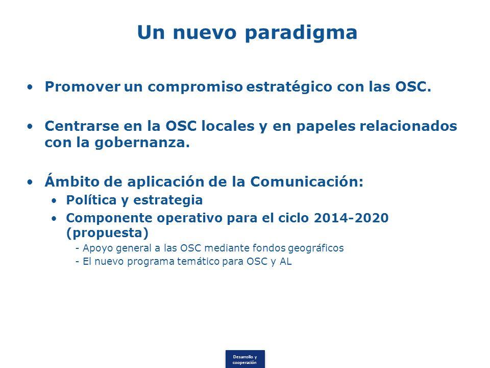 Desarrollo y cooperación Un nuevo paradigma Promover un compromiso estratégico con las OSC.