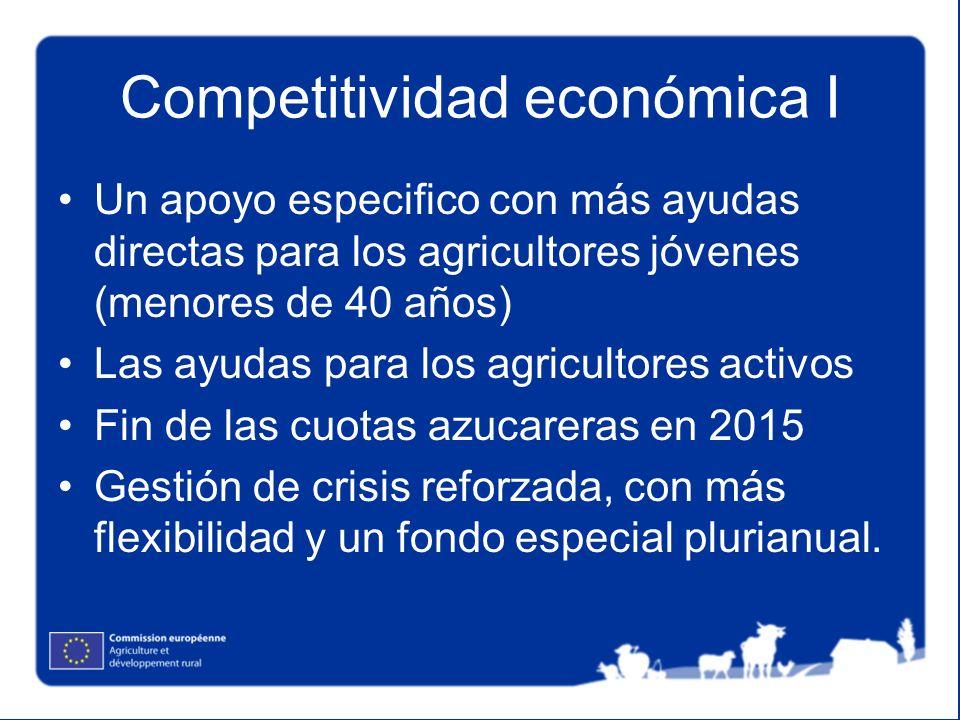 Competitividad económica I Un apoyo especifico con más ayudas directas para los agricultores jóvenes (menores de 40 años) Las ayudas para los agricult