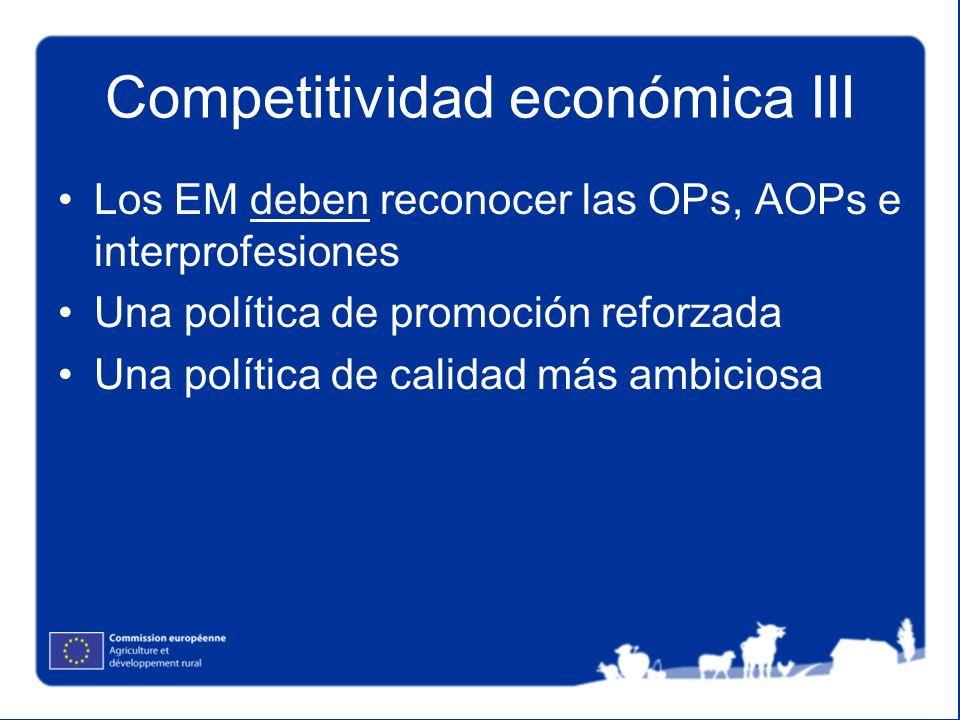 Competitividad económica III Los EM deben reconocer las OPs, AOPs e interprofesiones Una política de promoción reforzada Una política de calidad más a