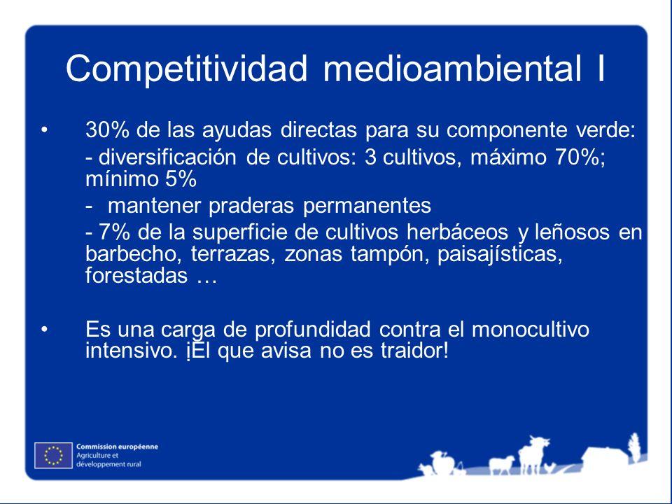 Competitividad medioambiental I 30% de las ayudas directas para su componente verde: - diversificación de cultivos: 3 cultivos, máximo 70%; mínimo 5%
