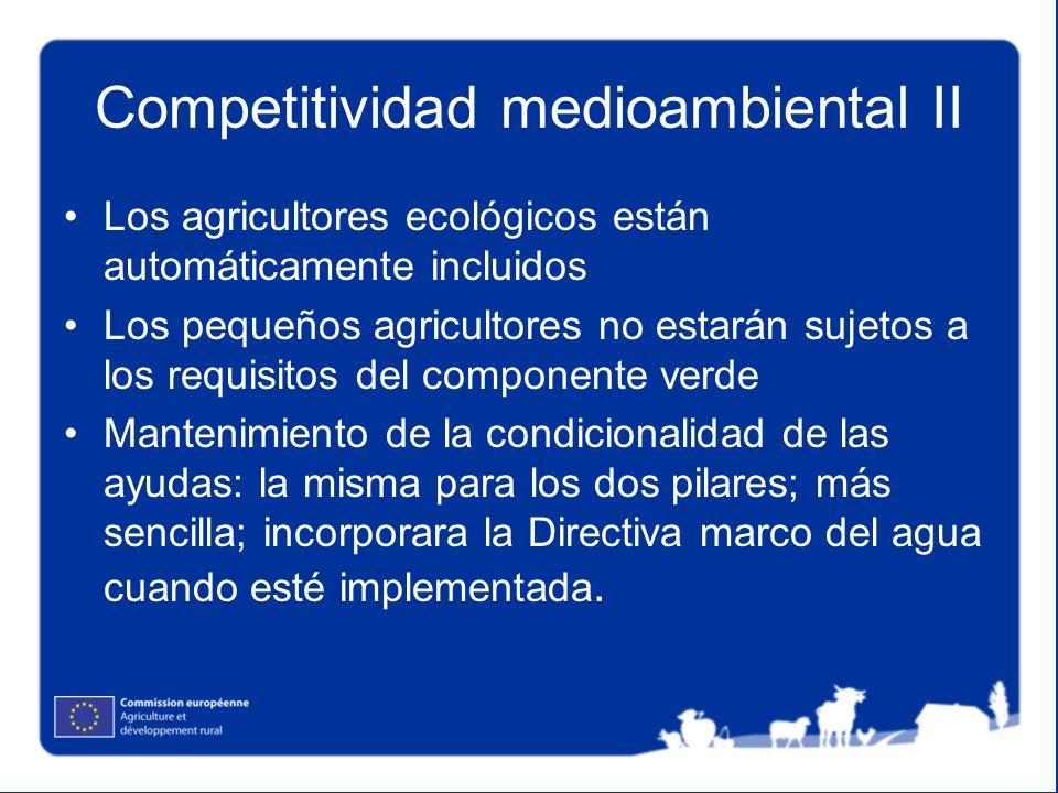 Competitividad medioambiental II Los agricultores ecológicos están automáticamente incluidos Los pequeños agricultores no estarán sujetos a los requis