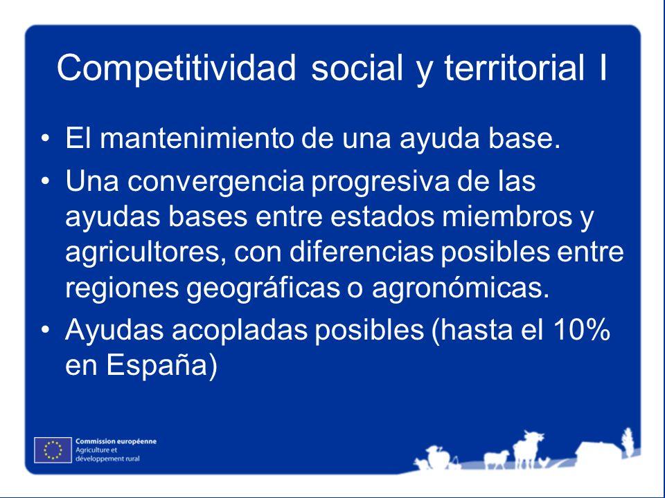 Competitividad social y territorial I El mantenimiento de una ayuda base. Una convergencia progresiva de las ayudas bases entre estados miembros y agr