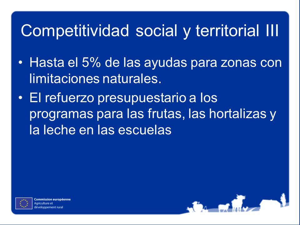 Competitividad social y territorial III Hasta el 5% de las ayudas para zonas con limitaciones naturales. El refuerzo presupuestario a los programas pa
