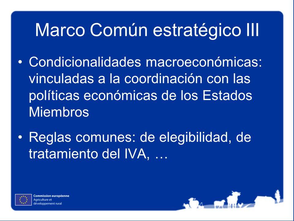 Marco Común estratégico III Condicionalidades macroeconómicas: vinculadas a la coordinación con las políticas económicas de los Estados Miembros Regla
