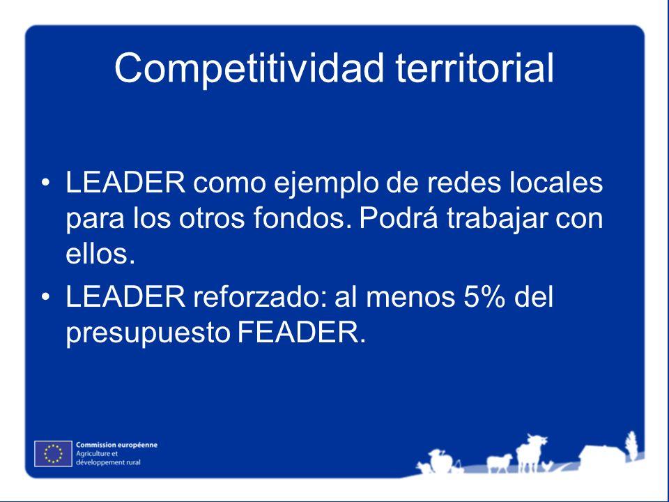Competitividad territorial LEADER como ejemplo de redes locales para los otros fondos. Podrá trabajar con ellos. LEADER reforzado: al menos 5% del pre