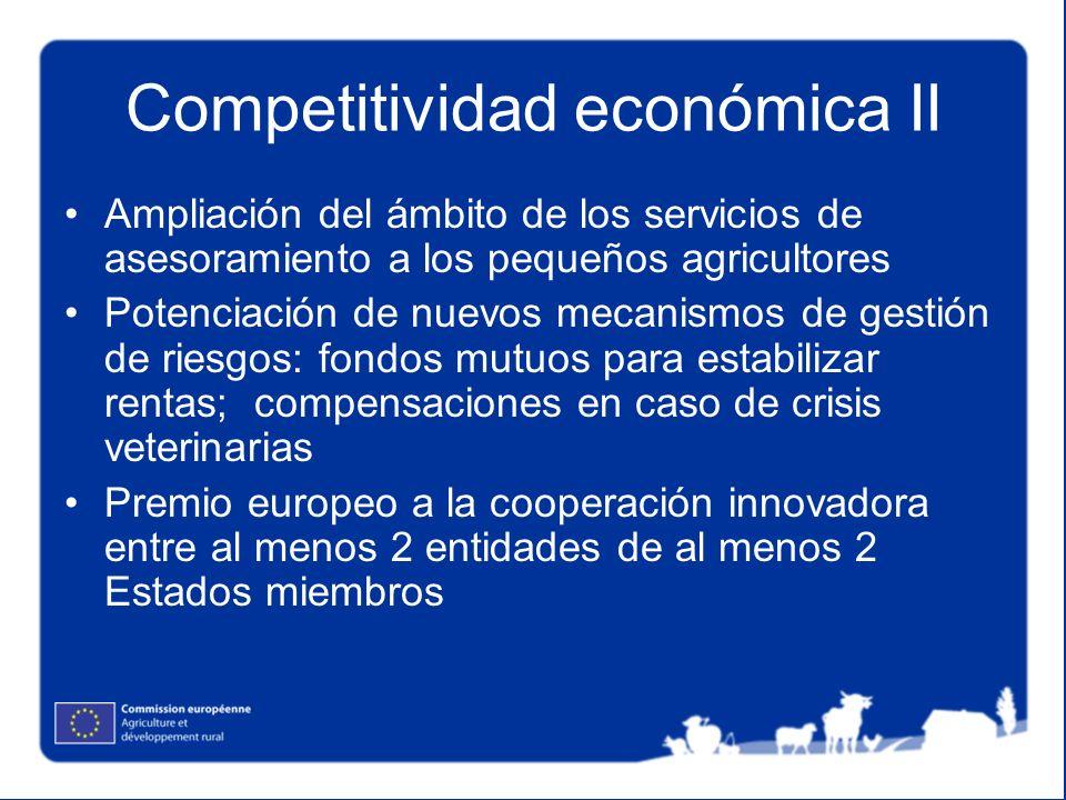 Competitividad económica II Ampliación del ámbito de los servicios de asesoramiento a los pequeños agricultores Potenciación de nuevos mecanismos de g