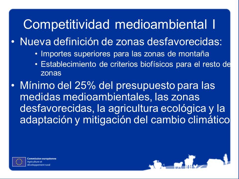 Competitividad medioambiental I Nueva definición de zonas desfavorecidas: Importes superiores para las zonas de montaña Establecimiento de criterios b