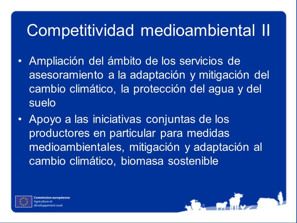 Competitividad medioambiental II Ampliación del ámbito de los servicios de asesoramiento a la adaptación y mitigación del cambio climático, la protecc