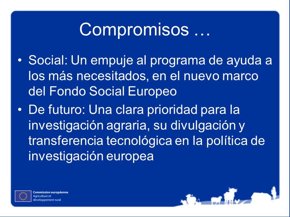 Compromisos … Social: Un empuje al programa de ayuda a los más necesitados, en el nuevo marco del Fondo Social Europeo De futuro: Una clara prioridad