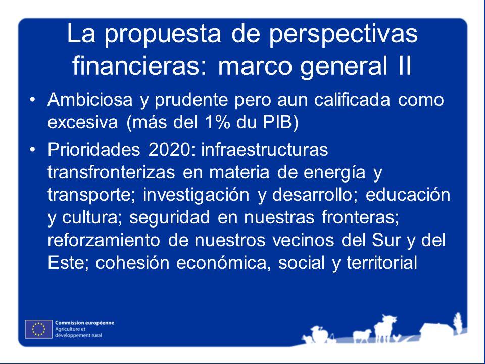 La propuesta de perspectivas financieras: marco general II Ambiciosa y prudente pero aun calificada como excesiva (más del 1% du PIB) Prioridades 2020