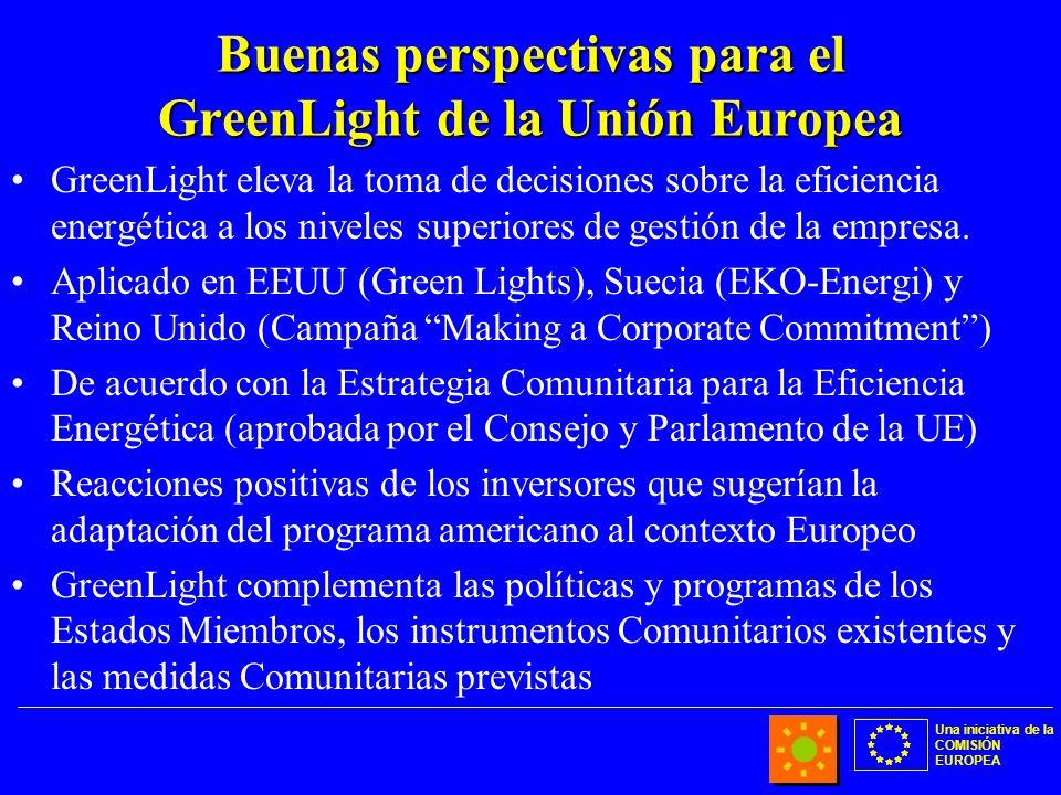 Una iniciativa de la COMISIÓN EUROPEA Buenas perspectivas para el GreenLight de la Unión Europea GreenLight eleva la toma de decisiones sobre la efici