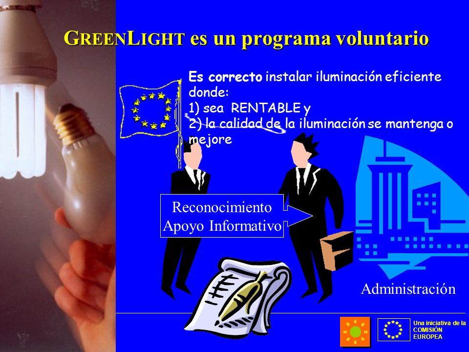 Una iniciativa de la COMISIÓN EUROPEA Es correcto instalar iluminación eficiente donde: 1) sea RENTABLE y 2) la calidad de la iluminación se mantenga