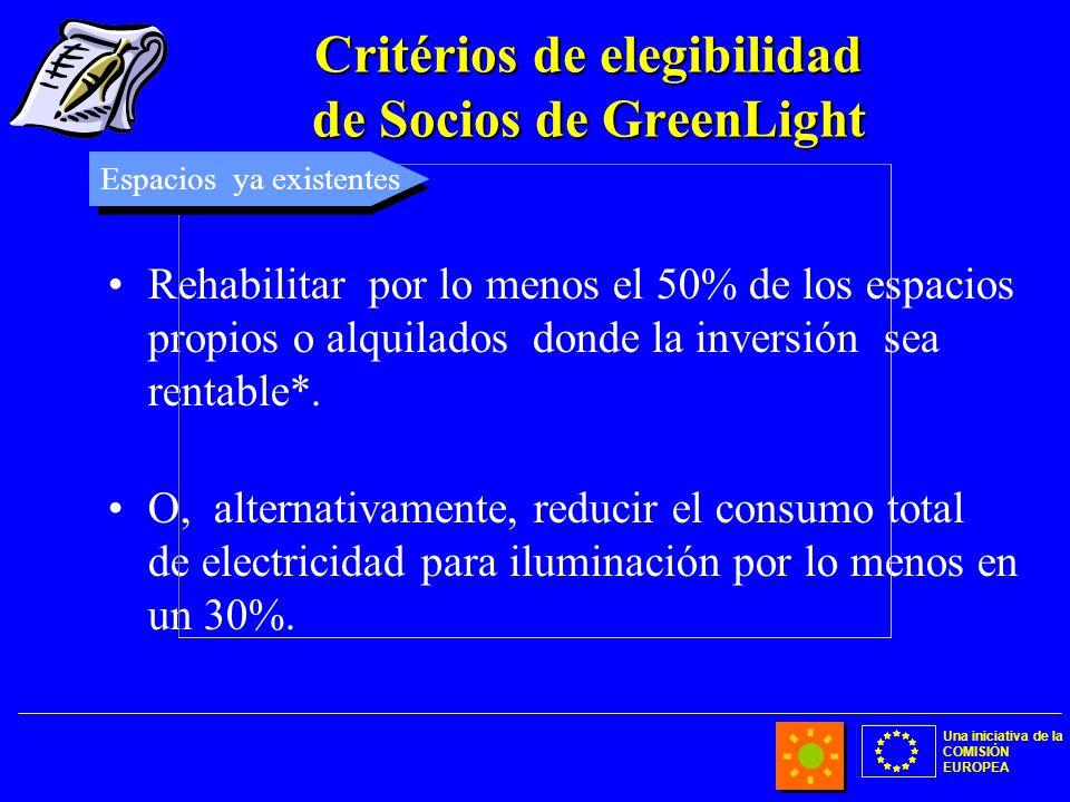 Una iniciativa de la COMISIÓN EUROPEA Critérios de elegibilidad de Socios de GreenLight Rehabilitar por lo menos el 50% de los espacios propios o alqu