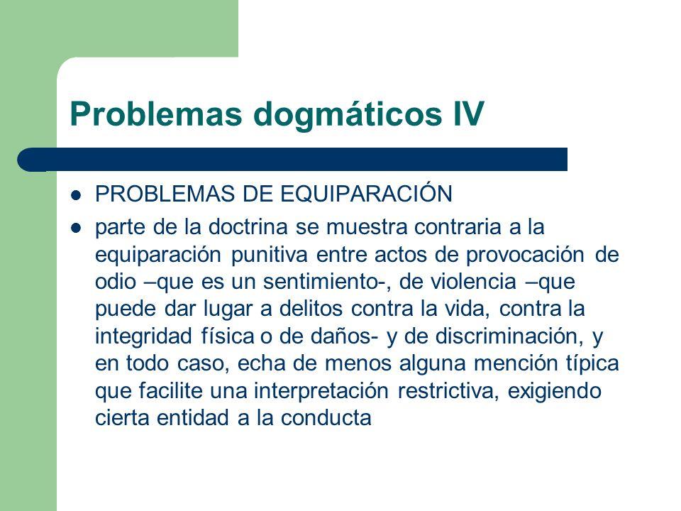 Problemas dogmáticos IV PROBLEMAS DE EQUIPARACIÓN parte de la doctrina se muestra contraria a la equiparación punitiva entre actos de provocación de o