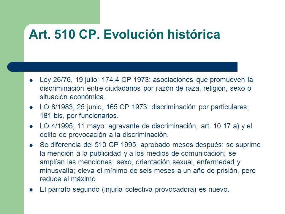 Art. 510 CP. Evolución histórica Ley 26/76, 19 julio: 174.4 CP 1973: asociaciones que promueven la discriminación entre ciudadanos por razón de raza,