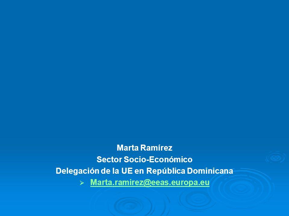 Marta Ramírez Sector Socio-Económico Delegación de la UE en República Dominicana Marta.ramirez@eeas.europa.eu