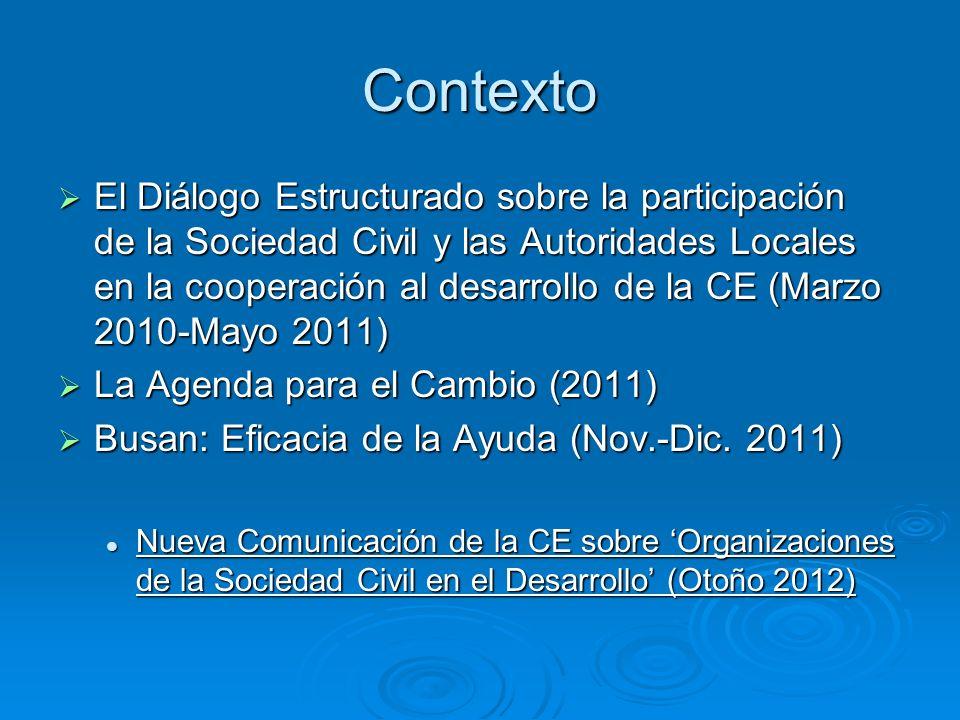 Contexto El Diálogo Estructurado sobre la participación de la Sociedad Civil y las Autoridades Locales en la cooperación al desarrollo de la CE (Marzo 2010-Mayo 2011) El Diálogo Estructurado sobre la participación de la Sociedad Civil y las Autoridades Locales en la cooperación al desarrollo de la CE (Marzo 2010-Mayo 2011) La Agenda para el Cambio (2011) La Agenda para el Cambio (2011) Busan: Eficacia de la Ayuda (Nov.-Dic.