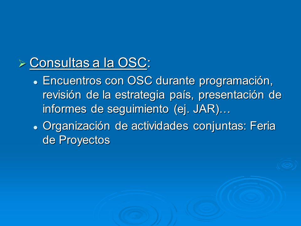 Consultas a la OSC: Consultas a la OSC: Encuentros con OSC durante programación, revisión de la estrategia país, presentación de informes de seguimiento (ej.