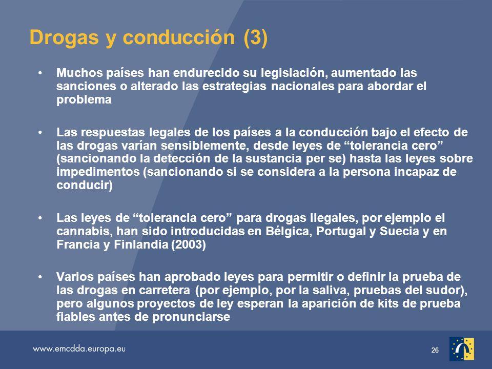 26 Drogas y conducción (3) Muchos países han endurecido su legislación, aumentado las sanciones o alterado las estrategias nacionales para abordar el problema Las respuestas legales de los países a la conducción bajo el efecto de las drogas varían sensiblemente, desde leyes de tolerancia cero (sancionando la detección de la sustancia per se) hasta las leyes sobre impedimentos (sancionando si se considera a la persona incapaz de conducir) Las leyes de tolerancia cero para drogas ilegales, por ejemplo el cannabis, han sido introducidas en Bélgica, Portugal y Suecia y en Francia y Finlandia (2003) Varios países han aprobado leyes para permitir o definir la prueba de las drogas en carretera (por ejemplo, por la saliva, pruebas del sudor), pero algunos proyectos de ley esperan la aparición de kits de prueba fiables antes de pronunciarse
