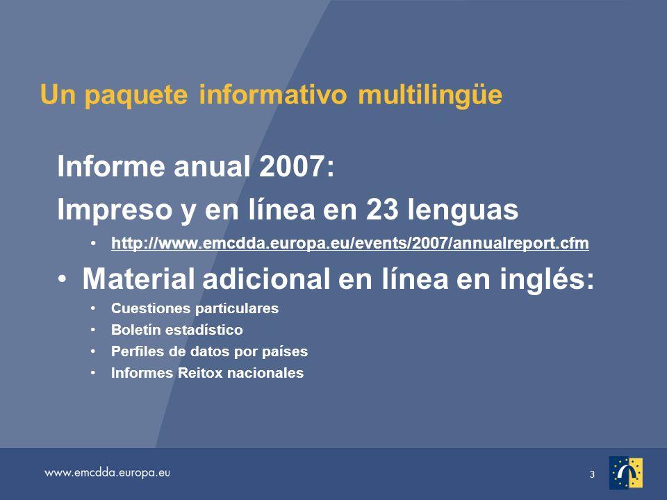 14 Cifras sobre la cocaína Unos 12 millones de europeos (el 4 % de los adultos) han probado la cocaína alguna vez Alrededor de 2 millones la tomaron el mes anterior, más del doble de los que se estima que consumieron éxtasis La mayoría de los países que han aportado datos de encuestas recientes han registrado durante el último año aumentos en el consumo de cocaína entre los jóvenes adultos (de 15 a 34 años) Unos 7,5 millones de jóvenes adultos han probado la cocaína alguna vez, 3,5 millones el pasado año, 1,5 millones el mes pasado En los países con mayores niveles de prevalencia (España y el Reino Unido) los aumentos fueron relativamente pequeños, lo que sugiere que ésta podría estar estabilizándose.