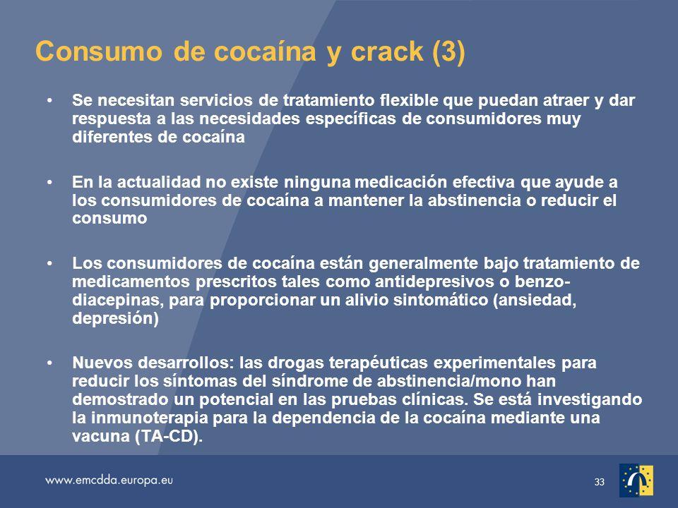 33 Consumo de cocaína y crack (3) Se necesitan servicios de tratamiento flexible que puedan atraer y dar respuesta a las necesidades específicas de consumidores muy diferentes de cocaína En la actualidad no existe ninguna medicación efectiva que ayude a los consumidores de cocaína a mantener la abstinencia o reducir el consumo Los consumidores de cocaína están generalmente bajo tratamiento de medicamentos prescritos tales como antidepresivos o benzo- diacepinas, para proporcionar un alivio sintomático (ansiedad, depresión) Nuevos desarrollos: las drogas terapéuticas experimentales para reducir los síntomas del síndrome de abstinencia/mono han demostrado un potencial en las pruebas clínicas.
