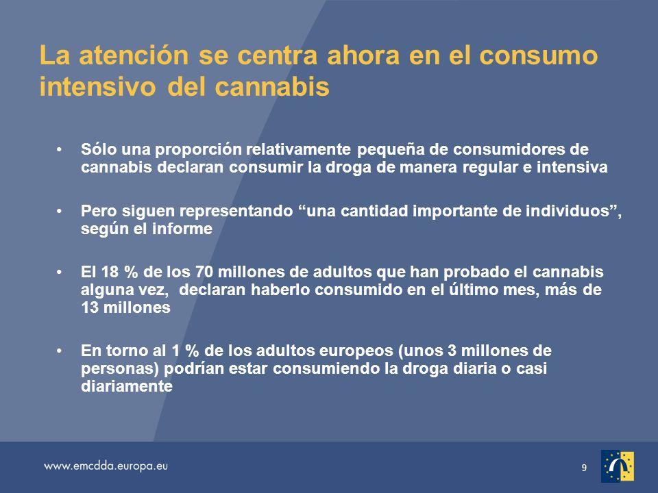 9 La atención se centra ahora en el consumo intensivo del cannabis Sólo una proporción relativamente pequeña de consumidores de cannabis declaran consumir la droga de manera regular e intensiva Pero siguen representando una cantidad importante de individuos, según el informe El 18 % de los 70 millones de adultos que han probado el cannabis alguna vez, declaran haberlo consumido en el último mes, más de 13 millones En torno al 1 % de los adultos europeos (unos 3 millones de personas) podrían estar consumiendo la droga diaria o casi diariamente