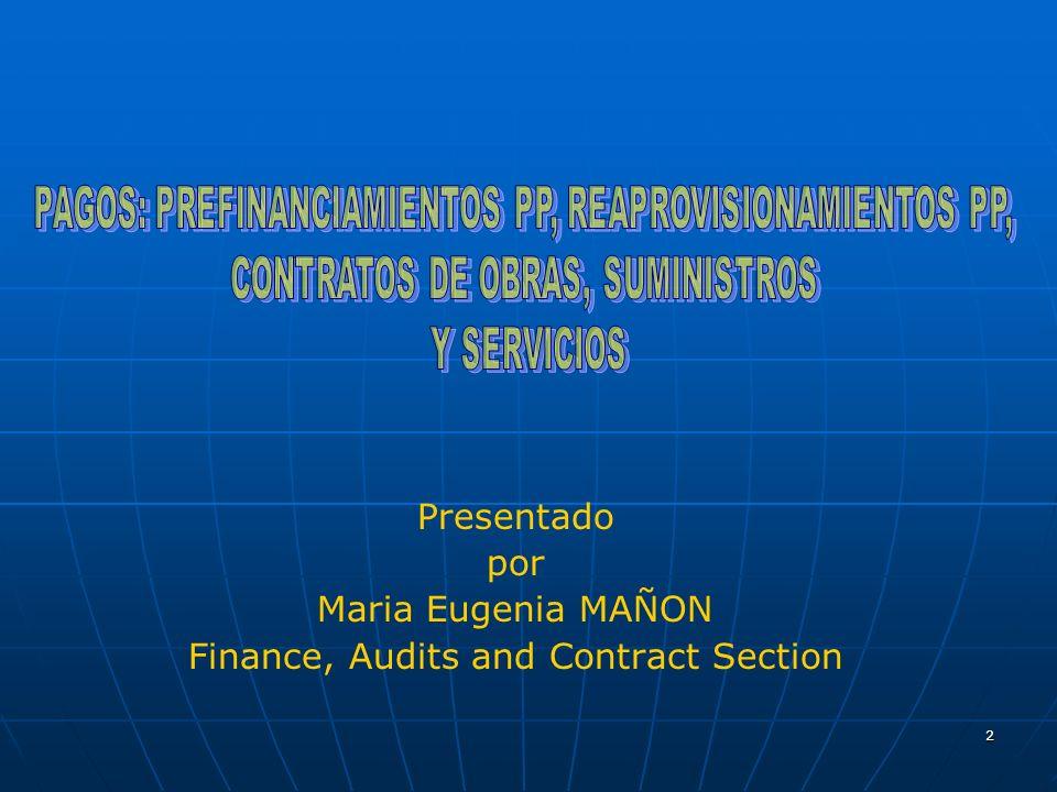 2 Presentado por Maria Eugenia MAÑON Finance, Audits and Contract Section
