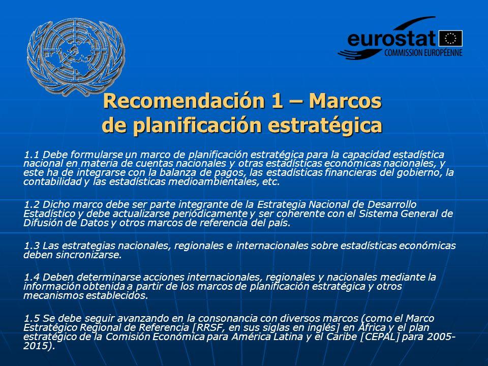 Recomendación 1 – Marcos de planificación estratégica 1.1 Debe formularse un marco de planificación estratégica para la capacidad estadística nacional