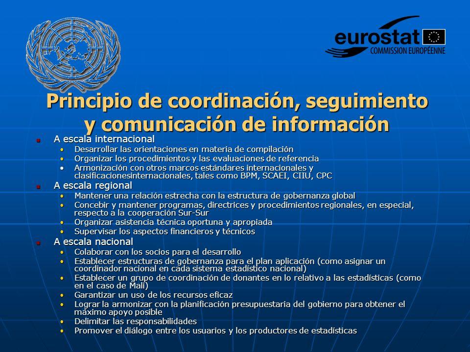 Principio de coordinación, seguimiento y comunicación de información A escala internacional A escala internacional Desarrollar las orientaciones en materia de compilaciónDesarrollar las orientaciones en materia de compilación Organizar los procedimientos y las evaluaciones de referenciaOrganizar los procedimientos y las evaluaciones de referencia Armonización con otros marcos estándares internacionales y clasificacionesinternacionales, tales como BPM, SCAEI, CIIU, CPCArmonización con otros marcos estándares internacionales y clasificacionesinternacionales, tales como BPM, SCAEI, CIIU, CPC A escala regional A escala regional Mantener una relación estrecha con la estructura de gobernanza globalMantener una relación estrecha con la estructura de gobernanza global Concebir y mantener programas, directrices y procedimientos regionales, en especial, respecto a la cooperación Sur-SurConcebir y mantener programas, directrices y procedimientos regionales, en especial, respecto a la cooperación Sur-Sur Organizar asistencia técnica oportuna y apropiadaOrganizar asistencia técnica oportuna y apropiada Supervisar los aspectos financieros y técnicosSupervisar los aspectos financieros y técnicos A escala nacional A escala nacional Colaborar con los socios para el desarrolloColaborar con los socios para el desarrollo Establecer estructuras de gobernanza para el plan aplicación (como asignar un coordinador nacional en cada sistema estadístico nacional)Establecer estructuras de gobernanza para el plan aplicación (como asignar un coordinador nacional en cada sistema estadístico nacional) Establecer un grupo de coordinación de donantes en lo relativo a las estadísticas (como en el caso de Mali)Establecer un grupo de coordinación de donantes en lo relativo a las estadísticas (como en el caso de Mali) Garantizar un uso de los recursos eficazGarantizar un uso de los recursos eficaz Lograr la armonizar con la planificación presupuestaria del gobierno para obtener el máximo apoyo posibleLog