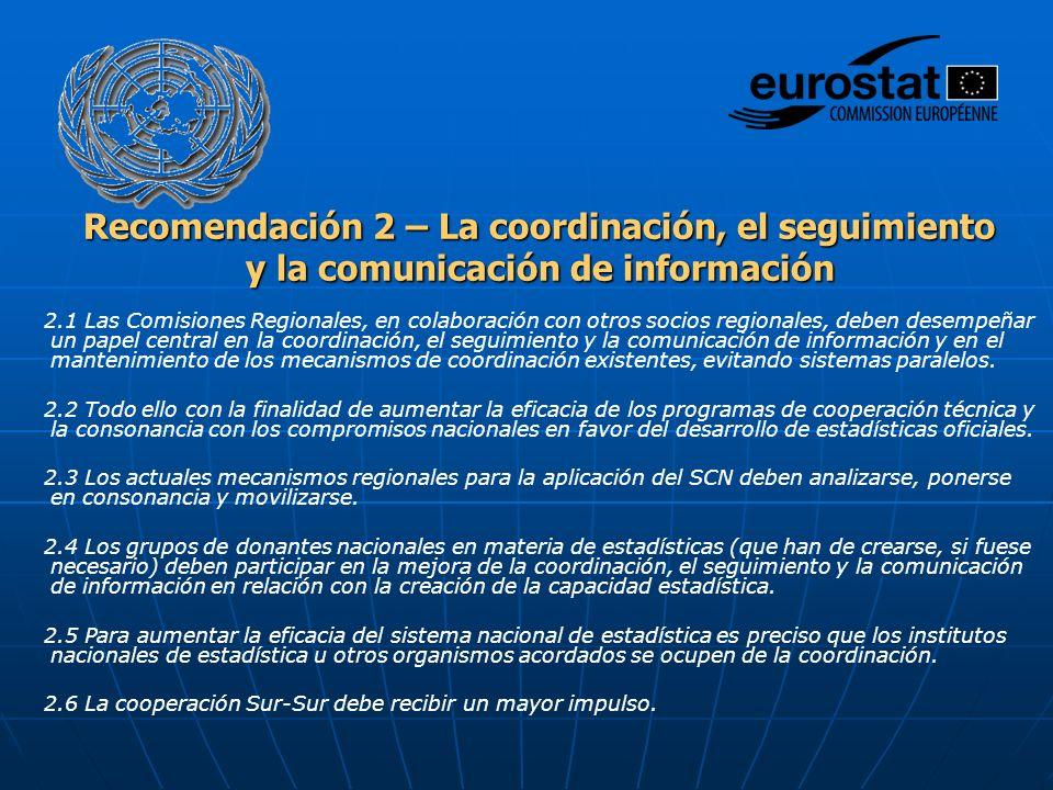 Recomendación 2 – La coordinación, el seguimiento y la comunicación de información 2.1 Las Comisiones Regionales, en colaboración con otros socios regionales, deben desempeñar un papel central en la coordinación, el seguimiento y la comunicación de información y en el mantenimiento de los mecanismos de coordinación existentes, evitando sistemas paralelos.