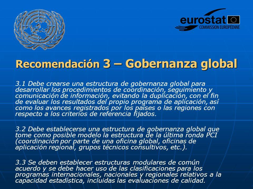 Recomendación 3 – Gobernanza global 3.1 Debe crearse una estructura de gobernanza global para desarrollar los procedimientos de coordinación, seguimie