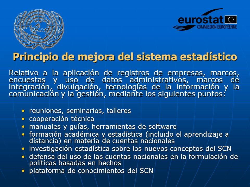 Principio de mejora del sistema estadístico Relativo a la aplicación de registros de empresas, marcos, encuestas y uso de datos administrativos, marco