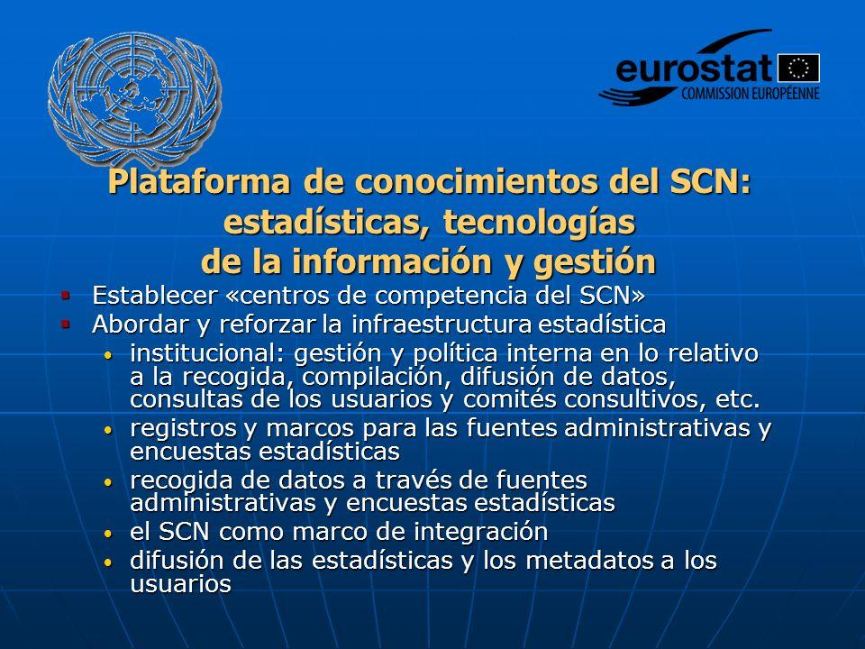 Plataforma de conocimientos del SCN: estadísticas, tecnologías de la información y gestión Establecer «centros de competencia del SCN» Establecer «cen
