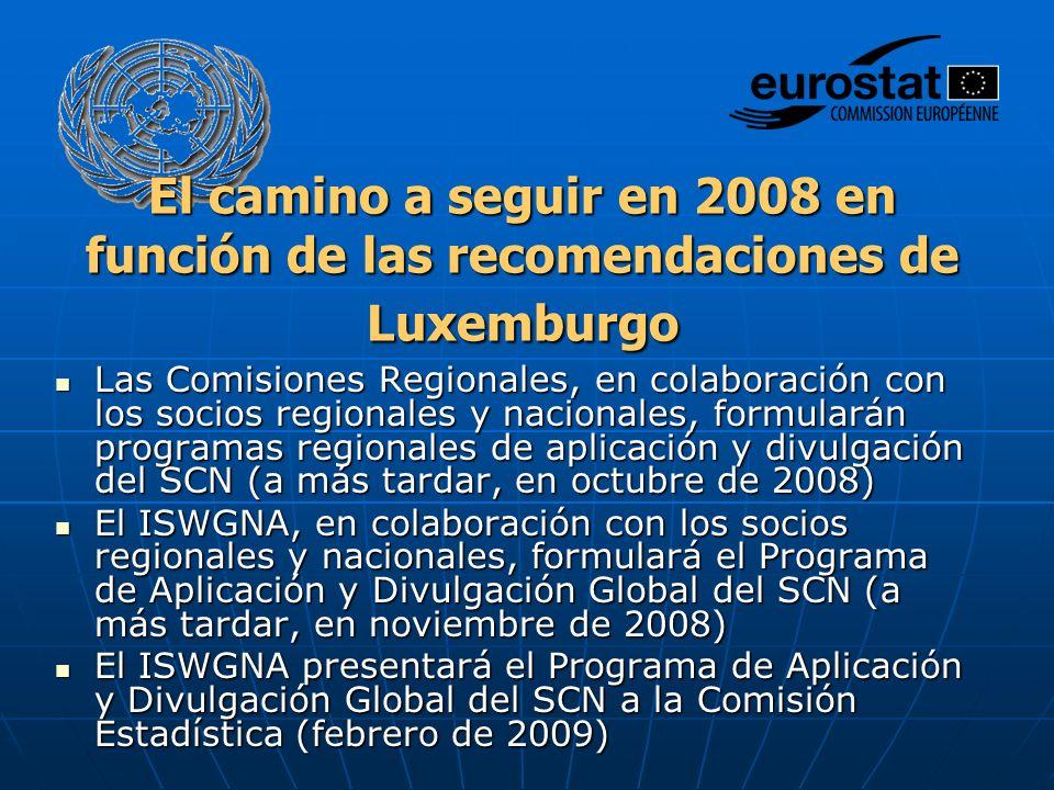 El camino a seguir en 2008 en función de las recomendaciones de Luxemburgo Las Comisiones Regionales, en colaboración con los socios regionales y nacionales, formularán programas regionales de aplicación y divulgación del SCN (a más tardar, en octubre de 2008) Las Comisiones Regionales, en colaboración con los socios regionales y nacionales, formularán programas regionales de aplicación y divulgación del SCN (a más tardar, en octubre de 2008) El ISWGNA, en colaboración con los socios regionales y nacionales, formulará el Programa de Aplicación y Divulgación Global del SCN (a más tardar, en noviembre de 2008) El ISWGNA, en colaboración con los socios regionales y nacionales, formulará el Programa de Aplicación y Divulgación Global del SCN (a más tardar, en noviembre de 2008) El ISWGNA presentará el Programa de Aplicación y Divulgación Global del SCN a la Comisión Estadística (febrero de 2009) El ISWGNA presentará el Programa de Aplicación y Divulgación Global del SCN a la Comisión Estadística (febrero de 2009)