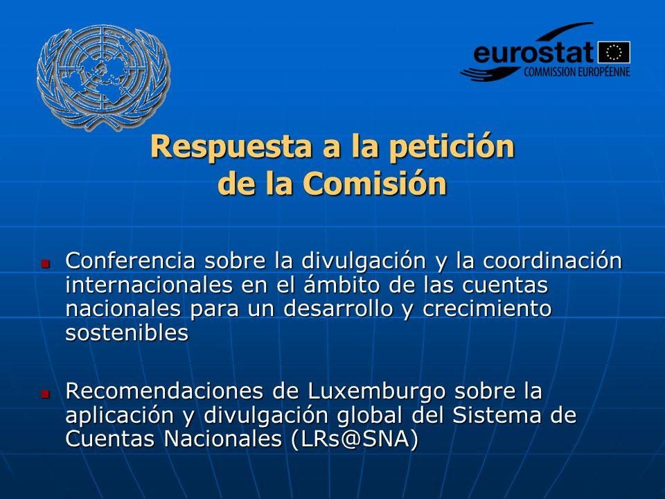 Respuesta a la petición de la Comisión Conferencia sobre la divulgación y la coordinación internacionales en el ámbito de las cuentas nacionales para