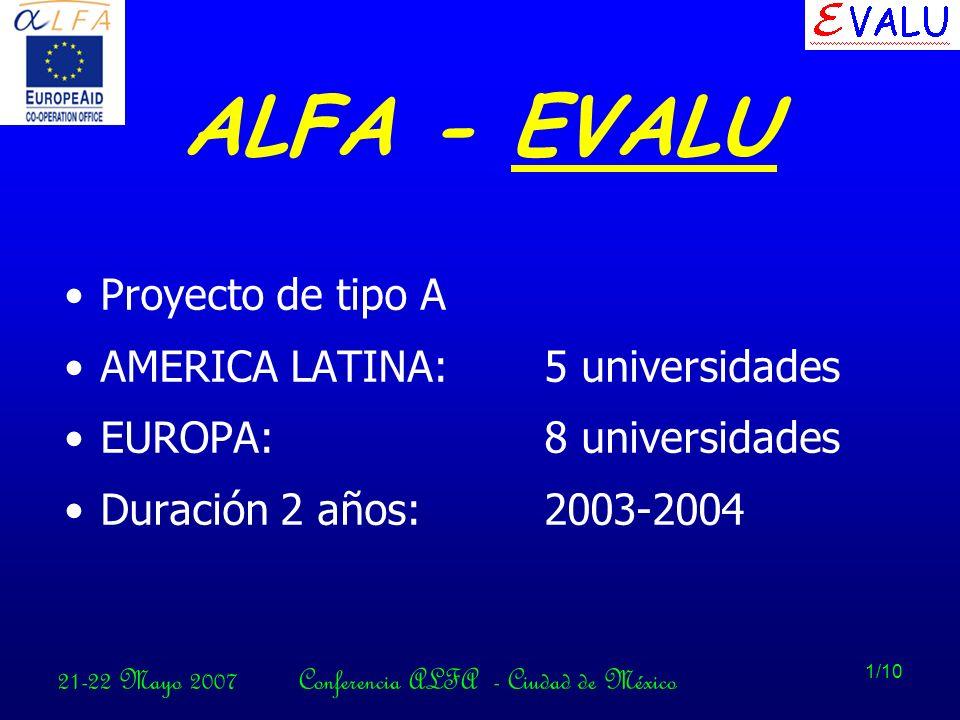 21-22 Mayo 2007Conferencia ALFA - Ciudad de México 1/10 ALFA - EVALU Proyecto de tipo A AMERICA LATINA:5 universidades EUROPA:8 universidades Duración 2 años:2003-2004