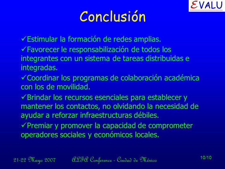 21-22 Mayo 2007ALFA Conference - Ciudad de México 10/10 Conclusión Estimular la formación de redes amplias.