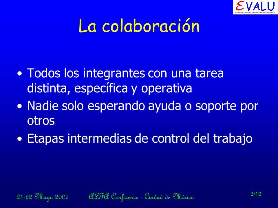 21-22 Mayo 2007ALFA Conference - Ciudad de México 3/10 La colaboración Todos los integrantes con una tarea distinta, específica y operativa Nadie solo esperando ayuda o soporte por otros Etapas intermedias de control del trabajo