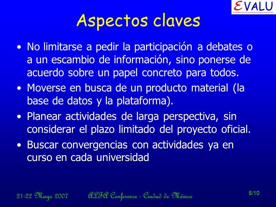 21-22 Mayo 2007ALFA Conference - Ciudad de México 5/10 Aspectos claves No limitarse a pedir la participación a debates o a un escambio de información, sino ponerse de acuerdo sobre un papel concreto para todos.
