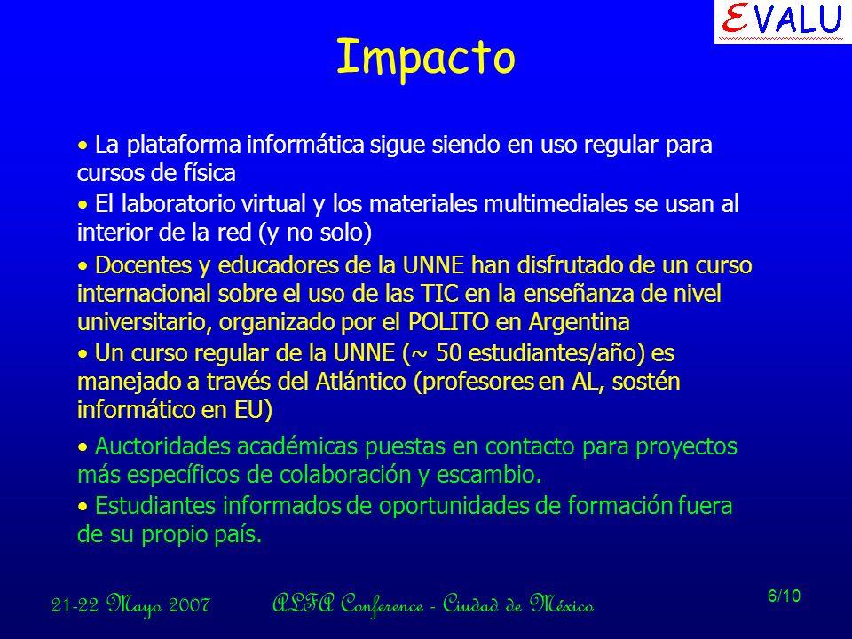 21-22 Mayo 2007ALFA Conference - Ciudad de México 6/10 Impacto La plataforma informática sigue siendo en uso regular para cursos de física El laboratorio virtual y los materiales multimediales se usan al interior de la red (y no solo) Docentes y educadores de la UNNE han disfrutado de un curso internacional sobre el uso de las TIC en la enseñanza de nivel universitario, organizado por el POLITO en Argentina Un curso regular de la UNNE (~ 50 estudiantes/año) es manejado a través del Atlántico (profesores en AL, sostén informático en EU) Auctoridades académicas puestas en contacto para proyectos más específicos de colaboración y escambio.