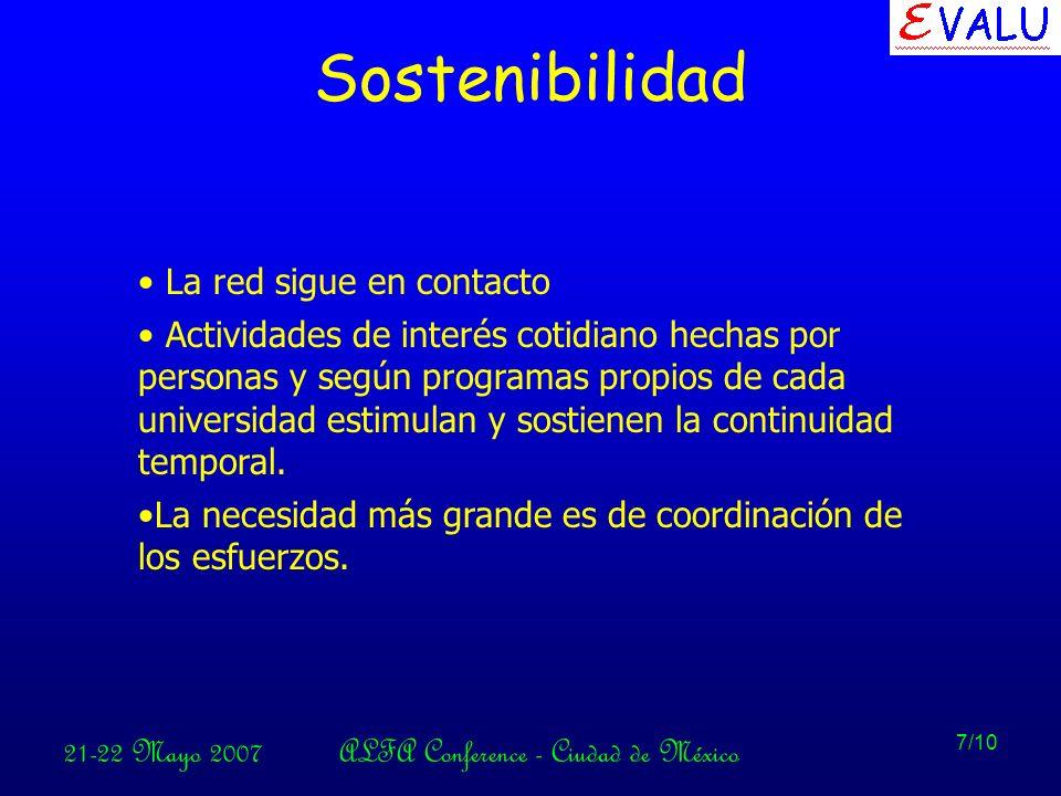 21-22 Mayo 2007ALFA Conference - Ciudad de México 7/10 Sostenibilidad La red sigue en contacto Actividades de interés cotidiano hechas por personas y según programas propios de cada universidad estimulan y sostienen la continuidad temporal.